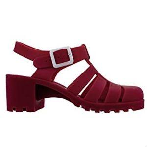Retro Red Matte Jelly Sandals